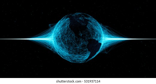 3d abstract technology globe illustration. Countries map over plexus intersections. Partlcies and random lines with sphere shape in center.