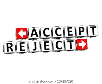 3D Accept Reject Button Click Here Block Text over white background