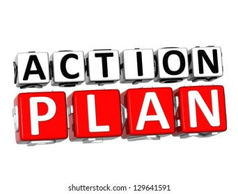 3D Action Plan Button Click Here Block Text over white background