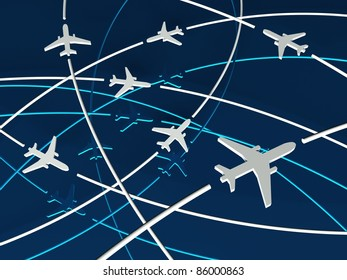 3d Airplane Routes, blue background