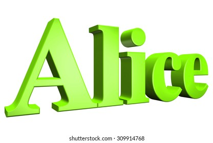 3D Alice text on white background