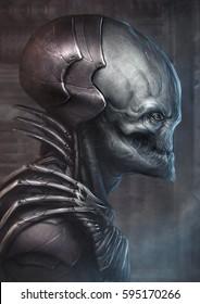 3D Alien figure side view