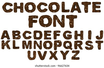 3D alphabet from chocolate isolated on white