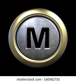 3D alphabet, letter M isolated on black background