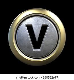 3D alphabet, letter V isolated on black background