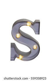 3D Alphabet S with LED Lights in Front View