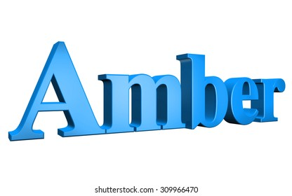 3D Amber text on white background