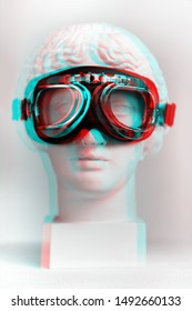 3d anaglyph effect. Statue. Gypsum statue of Venus's head in pilot glasses. Vintage style. Statue renaissance epoch, Renaissance interested in? Isolated. Glitch Art. Creative. Aviator glasses.