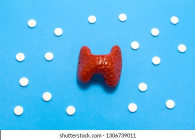 3D anatomical model of liver is on blue background surrounded by white pills as ornament polka dots. Medical concept by pharmacological tableted treating of liver disease, pharmacotherapy chemotherapy