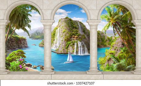 3d arch sea forest