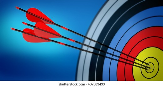 3d archery target with arrows