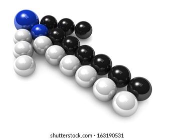 3D arrow of black white balls. Merges