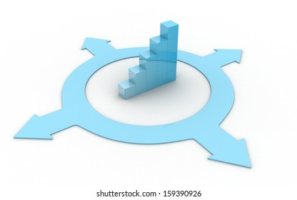 3d  arrow with business graph