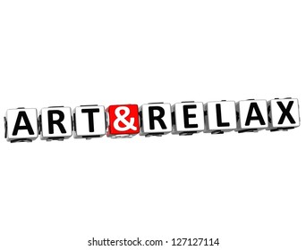 3D Art and Relax Crossword Block text on white background