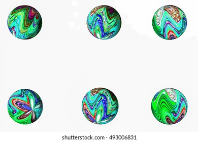 3d background six multicolored spheres with blue, green,, on a white background