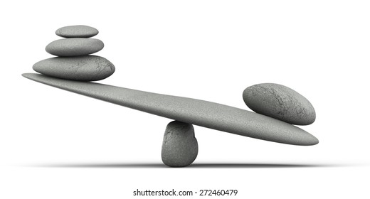 3D. Balance, Weight Scale, Stone.
