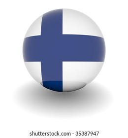 3D Ball with Flag of Finland. High resolution 3d render isolated on white.