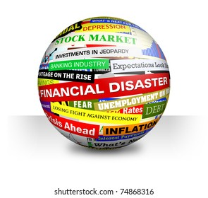 A 3d ball on a white, isolated background with economy, money and financial headlines.