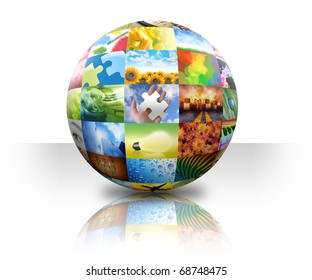 A 3D ball photo collage of different images on a white background.