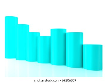 3D bar chart graph moving down on white bachgroung