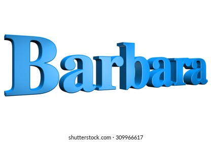 3D Barbara text on white background