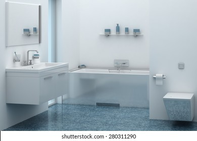3d of bathroom interior with sink and tub