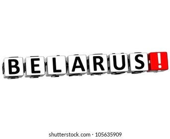 3D Belarus Button Click Here Block Text over white background