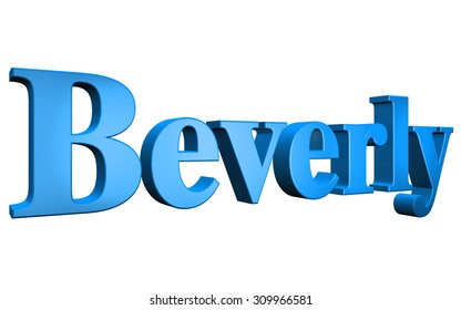 3D Beverly text on white background