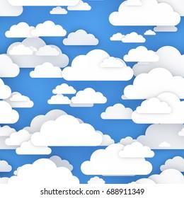 3D big clouds. Seamless pattern. Illustration. 3D rendered image.