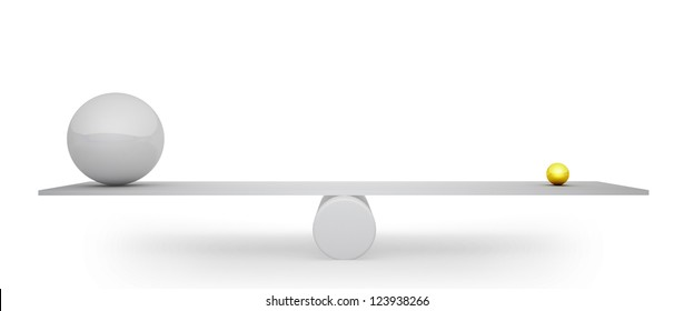 3D big grey sphere balanced with small golden one concept image.