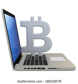 3d bitcoin with laptop computer  on white background