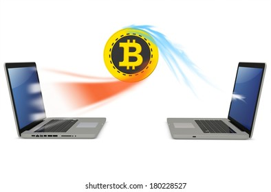 3d bitcoin with laptops exchanging currency  on white background