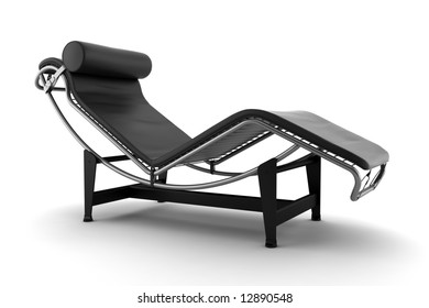 3d black couch isolated on white background
