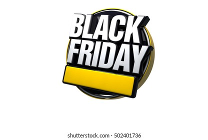 3d black Friday White Background