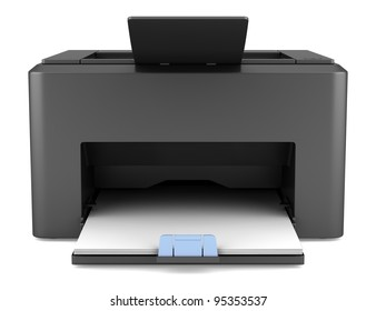 3d black laser printed isolated on white background