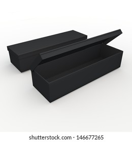 3d black long rectangle  opened box packaging blank template in isolated with clipping paths, work paths included