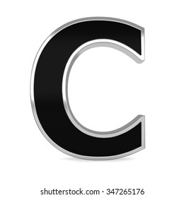 3d black metal alphabet letter Z frame isolated on white background