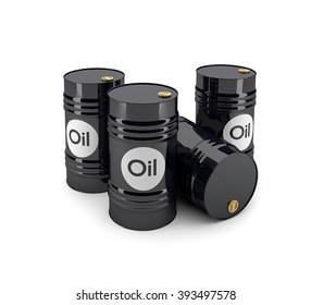 3D black oil barrels on a white background