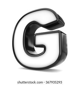 3d black plastic letter G isolated white background.