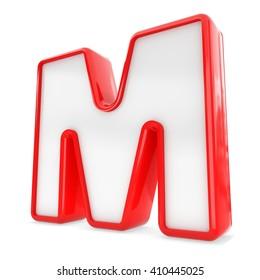 3d black plastic letter M isolated white background.