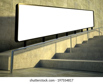 3d Blank advertising panel on street