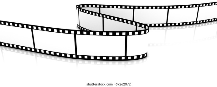 3d blank film zigzag on white backgroung.