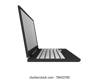 3D blank laptop computer isolated on white with clipping path - 3d illustration