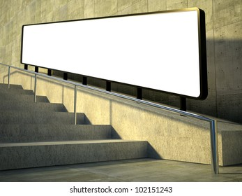 3d blank street advertising billboard on stairs