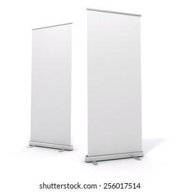 3d blank white rull-up baneer