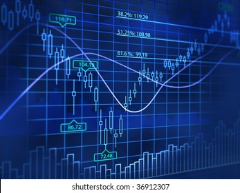3D blue background with abstract stock diagrams
