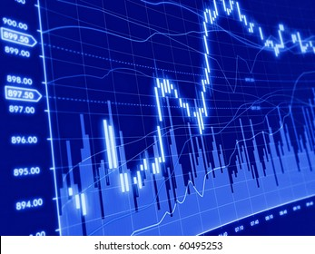 3d blue background with stock diagram