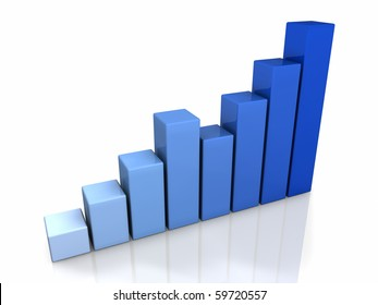 3D blue graph with a positive trend, isolated