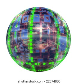 3d blue and green glass sphere isolated on white,ideal for 3D symbols or web buttons