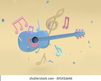 3d blue guitar with many music note,key sol cartoon style soft yellow minimal background 3d rendering